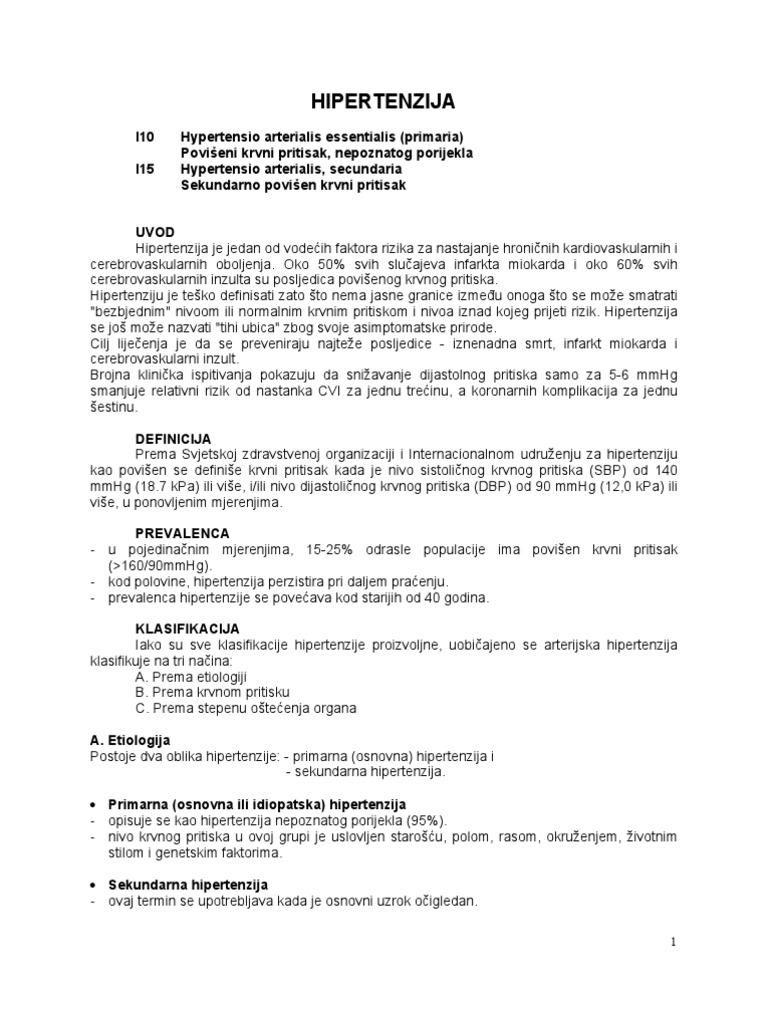 osnovni testovi za hipertenziju)