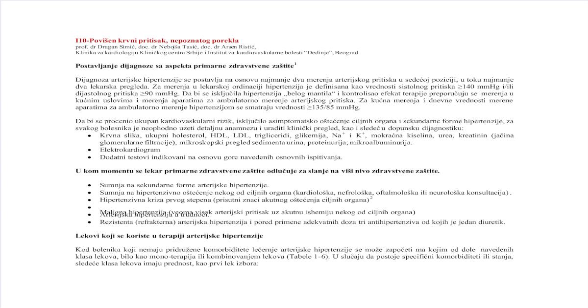 hipertenzija klinički pregled)