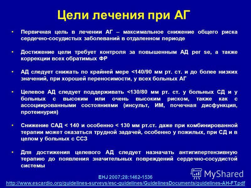 ciljevi za liječenje hipertenzije
