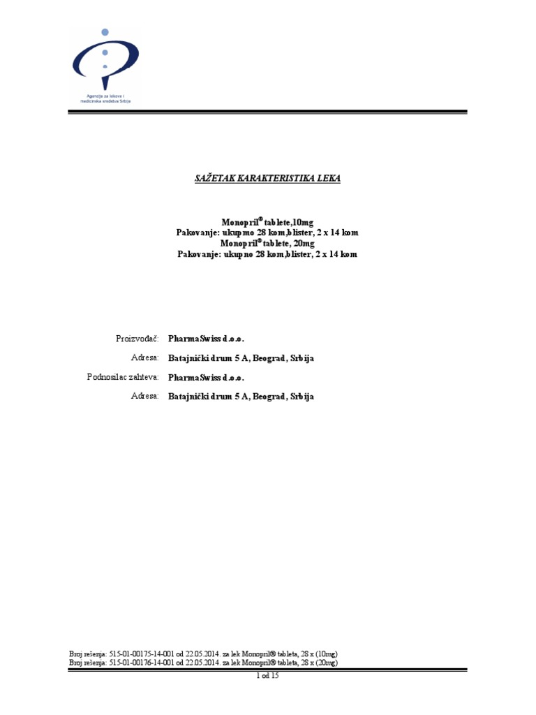 hipertenzije i monopril®)